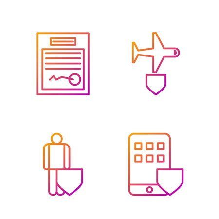 Set line Smartphone insurance, Life insurance with shield, Filled form and Plane with shield. Gradient color icons. Vector Stock fotó - 138435739