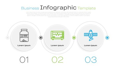 Set line Medicine bottle and pills, Computer monitor with cardiogram and Satellite. Business infographic template. Vector