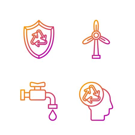 Set line Human head with recycle, Water tap, Recycle symbol inside shield and Wind turbine. Gradient color icons. Vector