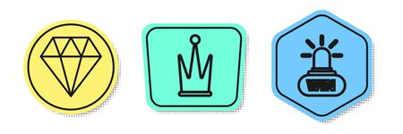 Set line Diamond, Crown and Casino win. Colored shapes. Vector