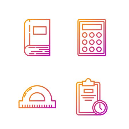 Set line Exam sheet with clock, Protractor grid for measuring degrees, Book and Calculator. Gradient color icons. Vector