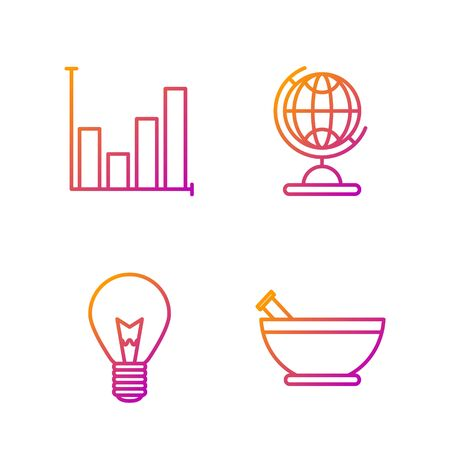 Set line Mortar and pestle, Light bulb with concept of idea, Pie chart infographic and Earth globe. Gradient color icons. Vector