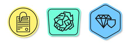 Set line File document and paper clip, Crumpled paper ball and Diamond with shield. Colored shapes. Vector