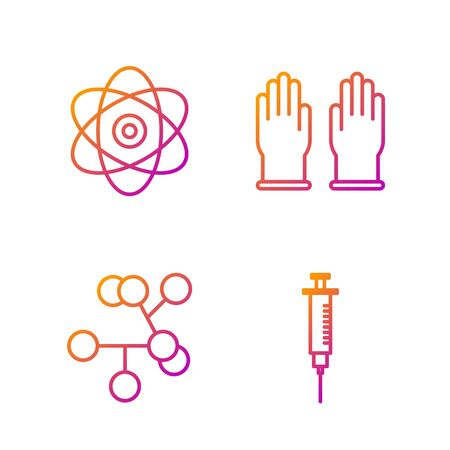 Set line Syringe, Molecule, Atom and Rubber gloves. Gradient color icons. Vector