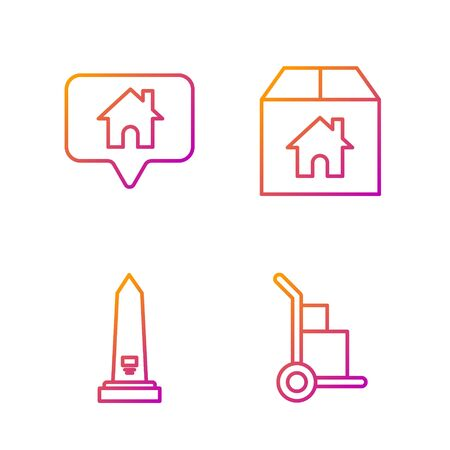 Set line Hand truck and boxes, Washington monument, Map pointer with house and Cardboard box with house. Gradient color icons. Vector