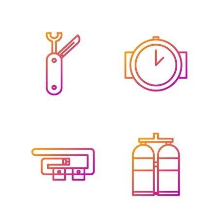 Set line Aqualung, Diving belt, Swiss army knife and Diving watch. Gradient color icons. Vector
