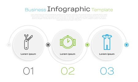 Set line Swiss army knife, Diving watch and Wetsuit for scuba diving. Business infographic template. Vector Vectores