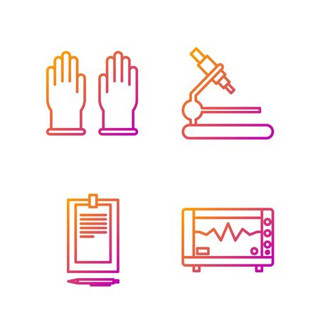 Set line Computer monitor with cardiogram, Clipboard with document, Rubber gloves and Microscope. Gradient color icons. Vector Stock fotó - 138435762