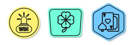 Set line Casino win, Four leaf clover and Playing card with heart. Colored shapes. Vector Stock Illustratie