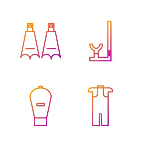 Set line Wetsuit for scuba diving, Lift bag, Rubber flippers for swimming and Snorkel. Gradient color icons. Vector Banque d'images - 138434857