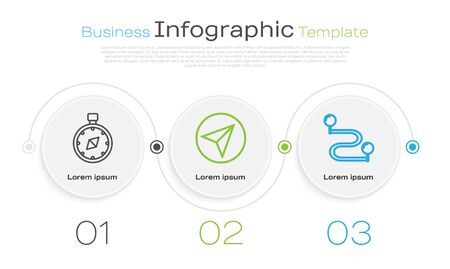 Set line Compass, Paper airplane and Route location. Business infographic template. Vector