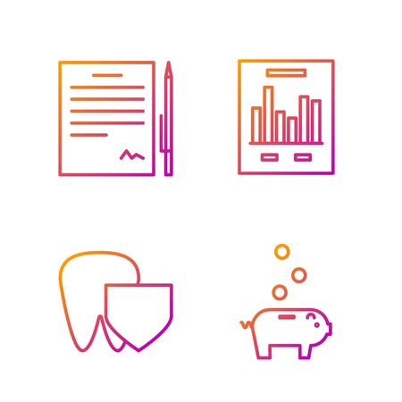 Set line Piggy bank with coin, Tooth with shield, Contract with pen and Document with graph chart. Gradient color icons. Vector