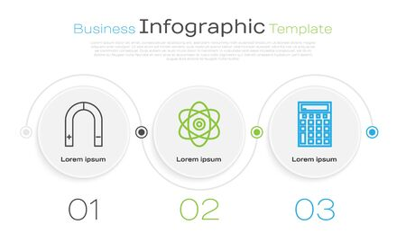 Set line Magnet, Atom and Calculator. Business infographic template. Vector