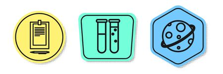 Set line Clipboard with document, Test tube and flask chemical laboratory and Planet. Colored shapes. Vector Stock fotó - 138435445