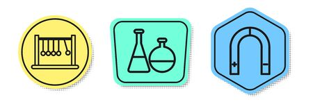 Set line Pendulum, Test tube and flask chemical laboratory and Magnet. Colored shapes. Vector Ilustração