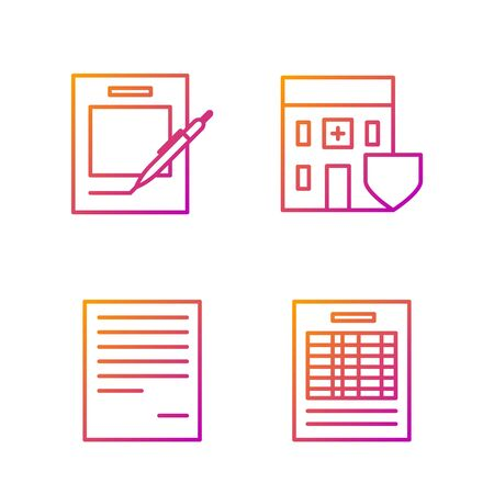 Set line Report file document, Document, Blank notebook and pen and Medical hospital building with shield. Gradient color icons. Vector