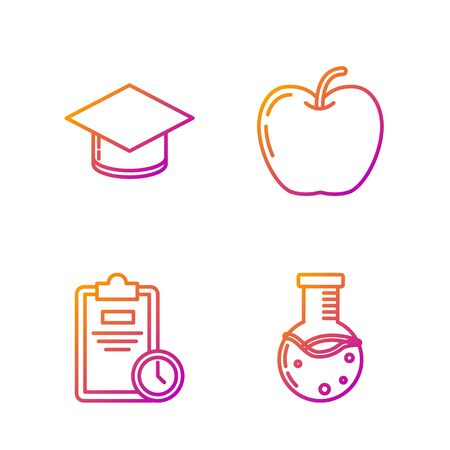 Set line Test tube and flask chemical laboratory, Exam sheet with clock, Graduation cap and Apple. Gradient color icons. Vector