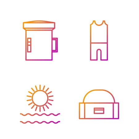 Set line Case or box container for wobbler, Sun and waves, Big flashlight for diver and Wetsuit for scuba diving. Gradient color icons. Vector Banque d'images - 138435510