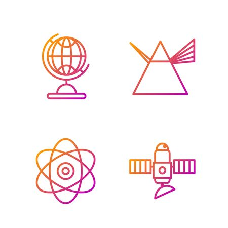 Set line Satellite, Atom, Earth globe and Light rays in prism. Gradient color icons. Vector