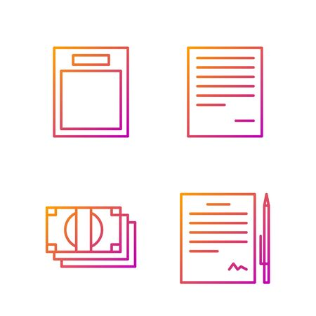 Set line Contract with pen, Stacks paper money cash, Empty form and Document. Gradient color icons. Vector