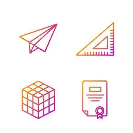 Set line Certificate template, Rubik cube, Paper airplane and Triangular ruler. Gradient color icons. Vector
