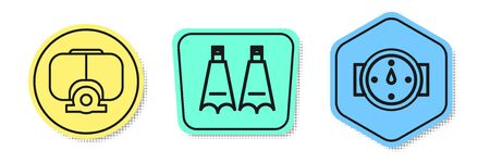 Set line Diving mask, Rubber flippers for swimming and Wind rose. Colored shapes. Vector Banque d'images - 138435778
