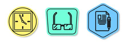 Set line Clock, Glasses and Exam sheet and pencil with eraser. Colored shapes. Vector