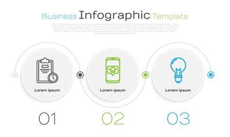 Set line Exam sheet with clock, Graduation cap on screen smartphone and Light bulb with concept of idea. Business infographic template. Vector Illusztráció