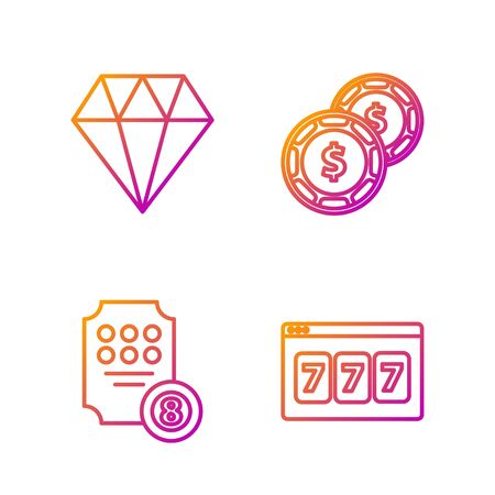 Set line Online slot machine with lucky sevens jackpot, Online slot machine, Diamond and Casino chip with dollar. Gradient color icons. Vector 向量圖像