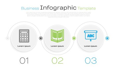 Set line Calculator, Open book and Chalkboard. Business infographic template. Vector