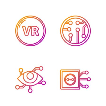 Set line Remote control, Virtual reality, Virtual reality and Processor. Gradient color icons. Vector