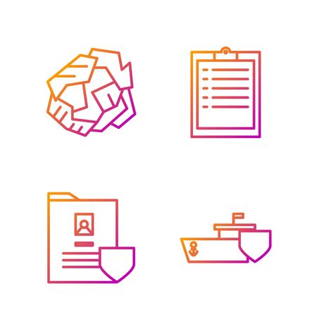 Set line Ship with shield, Document with shield, Crumpled paper ball and Clipboard with checklist. Gradient color icons. Vector Çizim