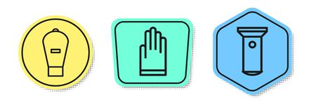 Set line Lift bag, Gloves and Flashlight. Colored shapes. Vector