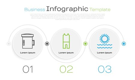 Set line Big flashlight for diver, Wetsuit for scuba diving and Sun and waves. Business infographic template. Vector Banque d'images - 138435761
