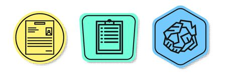 Set line Personal document, Clipboard with checklist and Crumpled paper ball. Colored shapes. Vector
