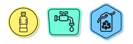 Set line Bottle of water, Water tap and Tag with recycle symbol. Colored shapes. Vector Archivio Fotografico - 138439950