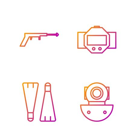 Set line Aqualung, Rubber flippers for swimming, Fishing harpoon and Diving watch. Gradient color icons. Vector Banque d'images - 138435779