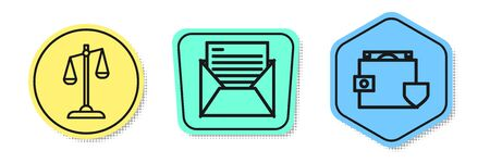 Set line Scales of justice, Mail and e-mail and Wallet and money with shield. Colored shapes. Vector 일러스트