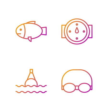 Set line Glasses and cap for swimming, Floating buoy on the sea, Fish and Wind rose. Gradient color icons. Vector