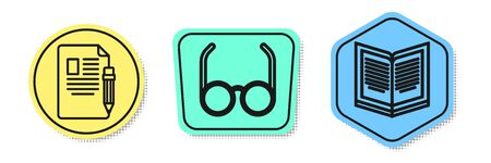Set line Exam sheet and pencil with eraser, Glasses and Open book. Colored shapes. Vector