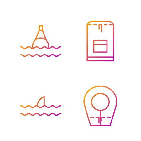 Set line Diving hood, Shark fin in ocean wave, Floating buoy on the sea and Backpack. Gradient color icons. Vector
