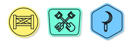 Set line Garden fence wooden, Shovel and rake and Sickle. Colored shapes. Vector