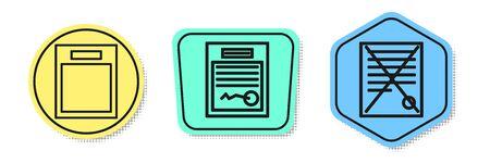 Set line Empty form, Filled form and Delete file document. Colored shapes. Vector Illusztráció