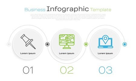 Set line Push pin, Monitor and folded map with location and Laptop with location marker. Business infographic template. Vector