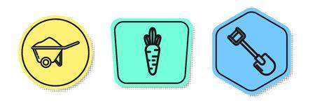 Set line Wheelbarrow with dirt, Carrot and Shovel. Colored shapes. Vector Zdjęcie Seryjne - 138439671