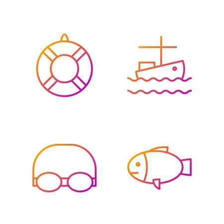 Set line Fish, Glasses and cap for swimming, Lifebuoy and Fishing boat on water. Gradient color icons. Vector Archivio Fotografico - 138435680