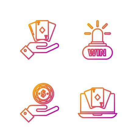 Set line Online poker table game, Hand holding casino chips, Hand holding deck of playing cards and Casino win. Gradient color icons. Vector