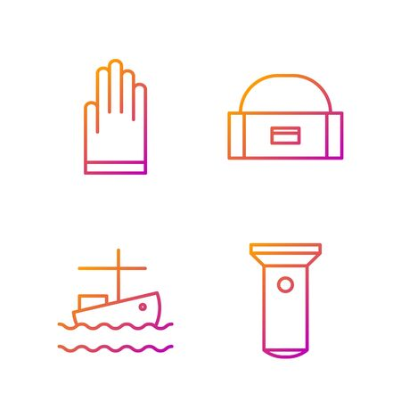 Set line Flashlight, Fishing boat on water, Gloves and Case or box container for wobbler. Gradient color icons. Vector Archivio Fotografico - 138435777