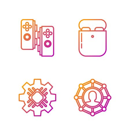 Set line Project team base, Processor, Gamepad and Air headphones in box. Gradient color icons. Vector