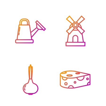 Set line Cheese, Onion, Watering can and Windmill. Gradient color icons. Vector